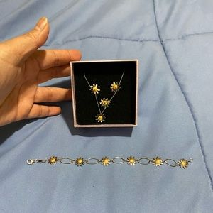 18K 2 toned sunflower set